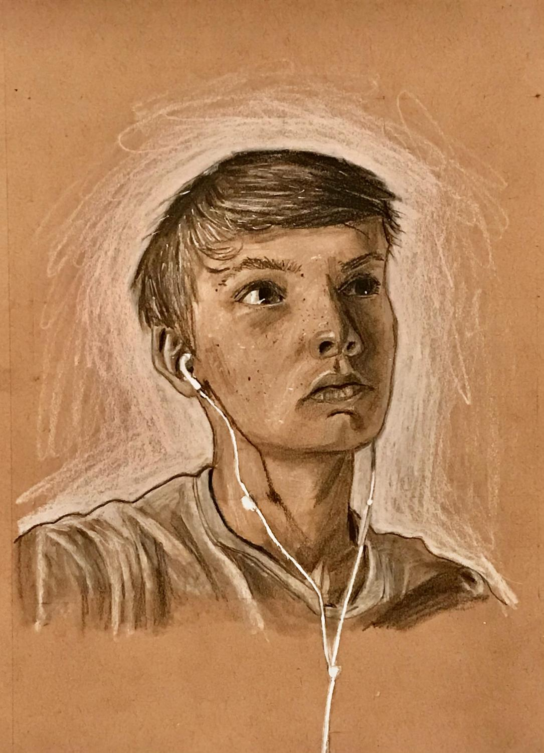 A self portrait made using charcoal, black and white colored pencil, and a white paint pen.